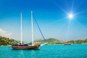 Wonderful yachts in the bay and sunbeams. Turkey. Kekova.